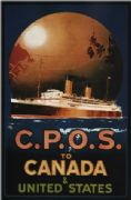 Vintage Travel Poster C.P.O.S Canada- USA